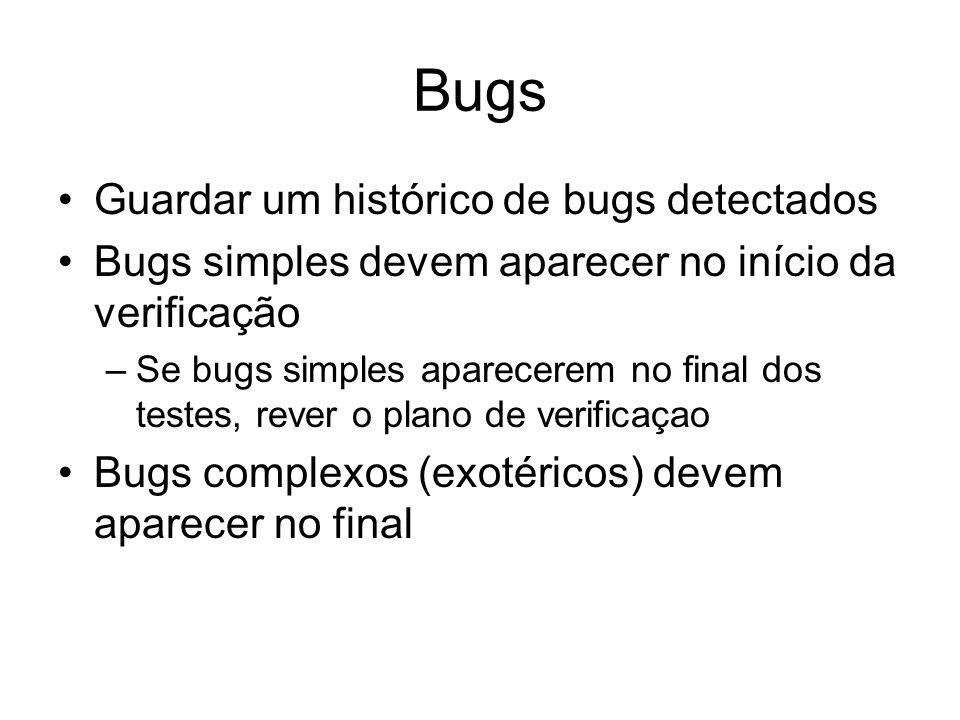 Bugs Guardar um histórico de bugs detectados Bugs simples devem aparecer no início da verificação –Se bugs simples aparecerem no final dos testes, rev