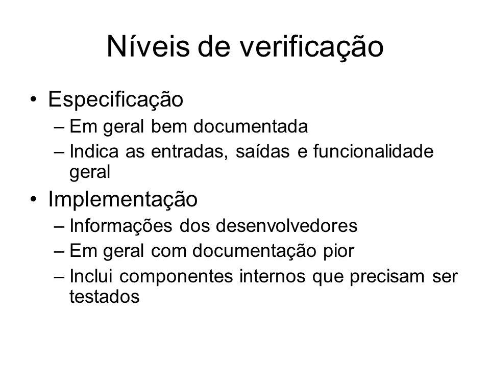 Níveis de verificação Especificação –Em geral bem documentada –Indica as entradas, saídas e funcionalidade geral Implementação –Informações dos desenv