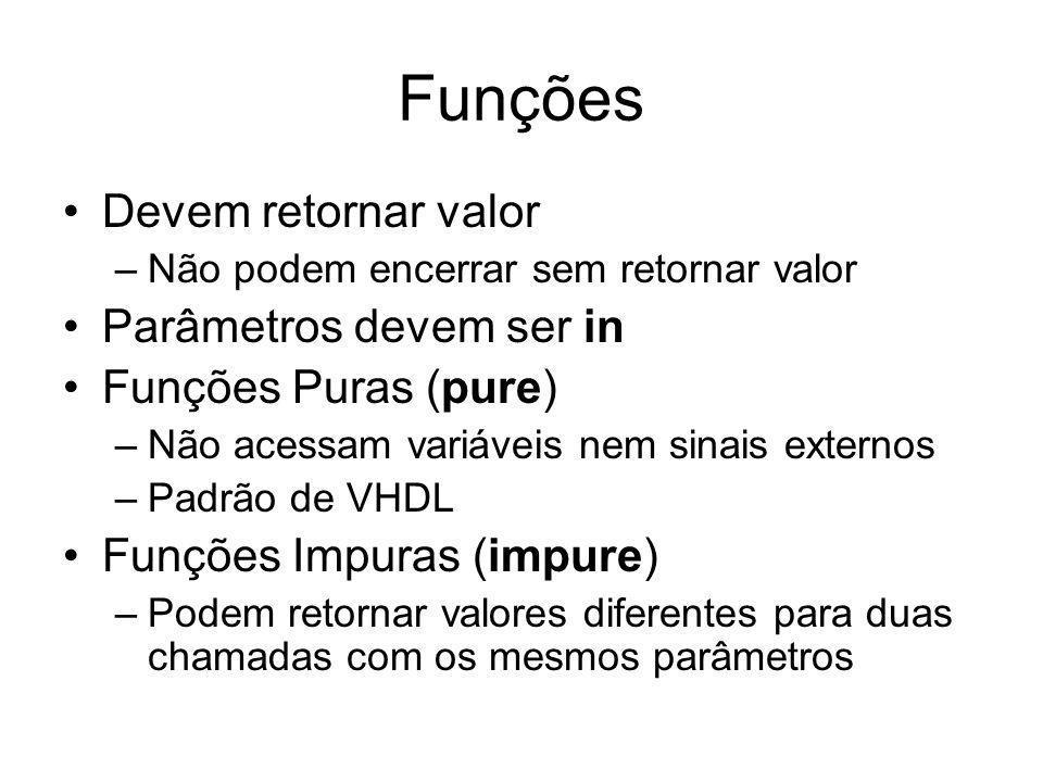 Funções Devem retornar valor –Não podem encerrar sem retornar valor Parâmetros devem ser in Funções Puras (pure) –Não acessam variáveis nem sinais externos –Padrão de VHDL Funções Impuras (impure) –Podem retornar valores diferentes para duas chamadas com os mesmos parâmetros