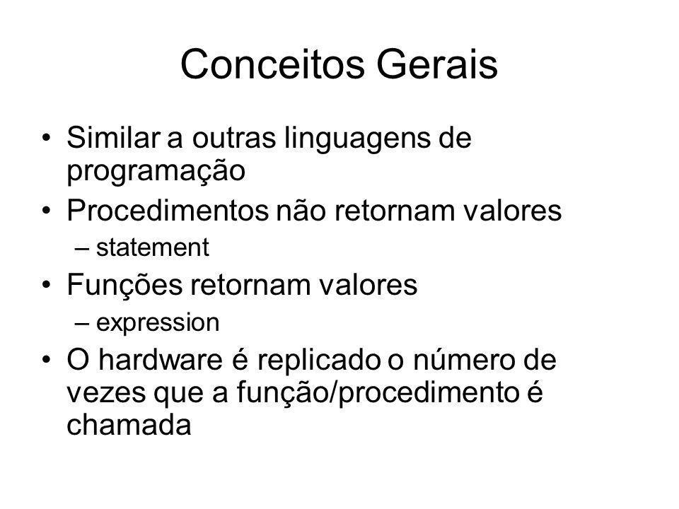 Conceitos Gerais Similar a outras linguagens de programação Procedimentos não retornam valores –statement Funções retornam valores –expression O hardware é replicado o número de vezes que a função/procedimento é chamada