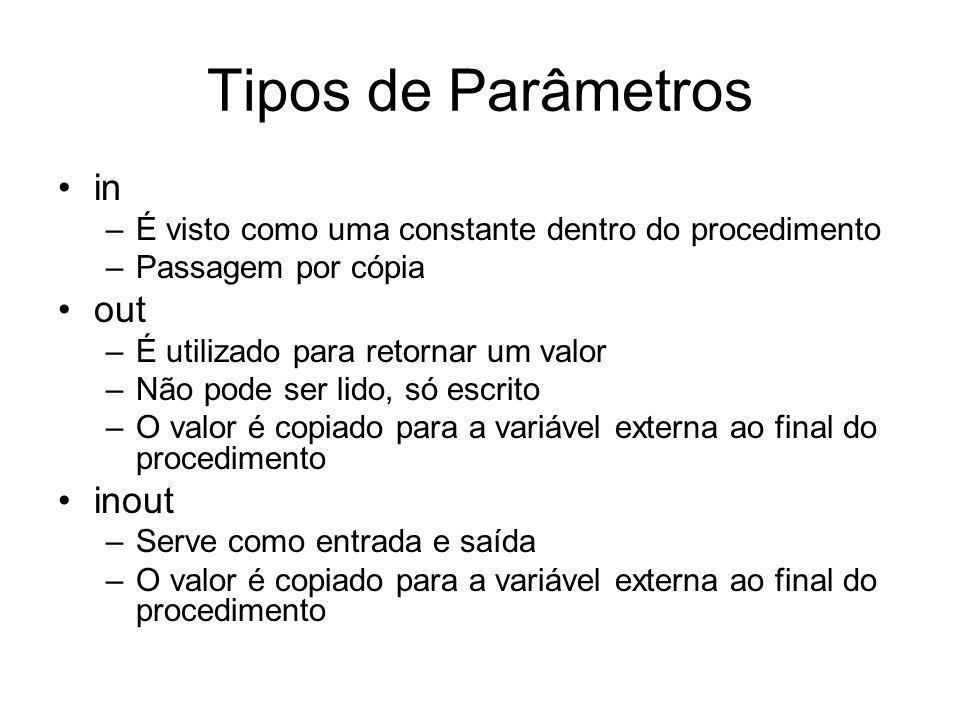 Tipos de Parâmetros in –É visto como uma constante dentro do procedimento –Passagem por cópia out –É utilizado para retornar um valor –Não pode ser li