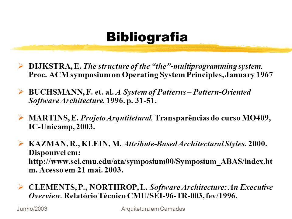 Junho/2003Arquitetura em Camadas Bibliografia DIJKSTRA, E. The structure of the the-multiprogramming system. Proc. ACM symposium on Operating System P