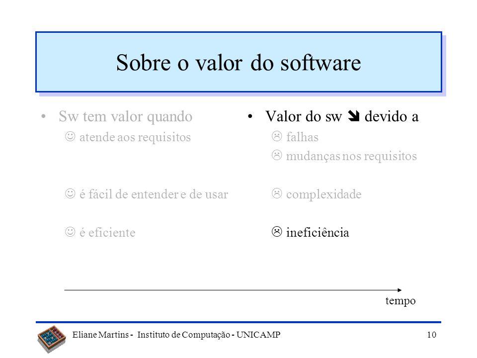 Eliane Martins - Instituto de Computação - UNICAMP9 Sobre o valor do software Sw tem valor quando atende aos requisitos é fácil de entender e de usar