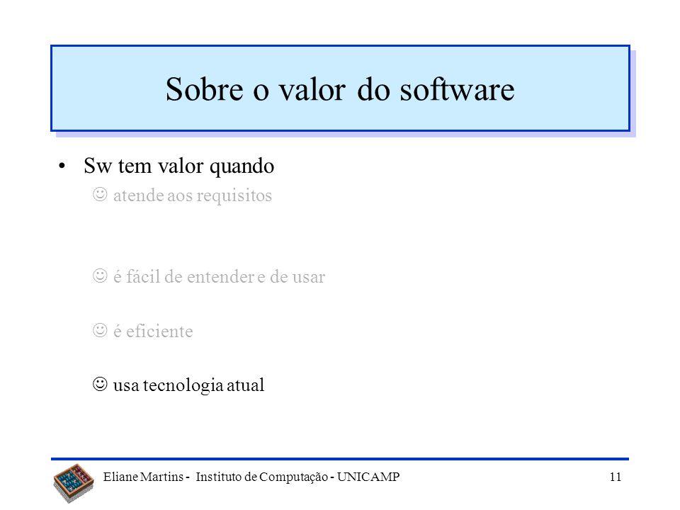 Eliane Martins - Instituto de Computação - UNICAMP10 Sobre o valor do software Sw tem valor quando atende aos requisitos é fácil de entender e de usar