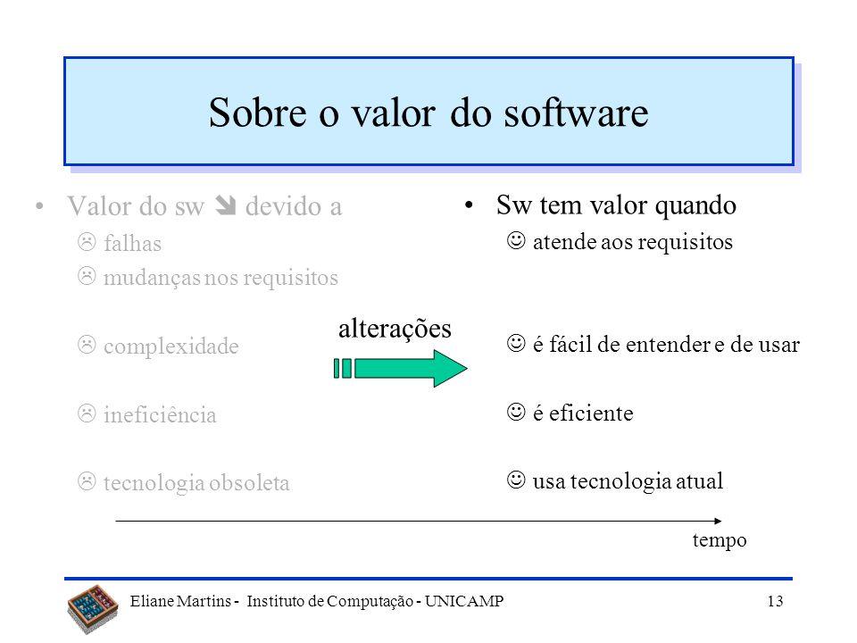 Eliane Martins - Instituto de Computação - UNICAMP12 Sobre o valor do software Sw tem valor quando atende aos requisitos é fácil de entender e de usar