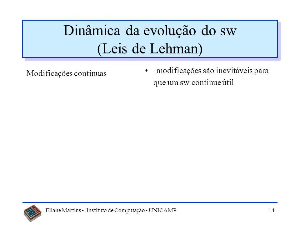 Eliane Martins - Instituto de Computação - UNICAMP13 Sobre o valor do software Sw tem valor quando atende aos requisitos é fácil de entender e de usar