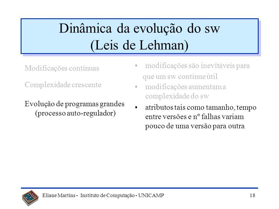 Eliane Martins - Instituto de Computação - UNICAMP17 Dinâmica da evolução do sw (Leis de Lehman) Modificações contínuas Complexidade crescente modific