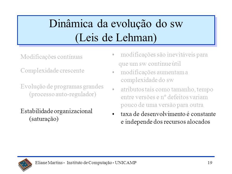 Eliane Martins - Instituto de Computação - UNICAMP18 Dinâmica da evolução do sw (Leis de Lehman) Modificações contínuas Complexidade crescente Evoluçã