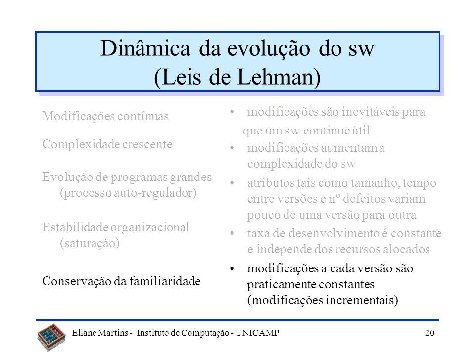 Eliane Martins - Instituto de Computação - UNICAMP19 Dinâmica da evolução do sw (Leis de Lehman) Modificações contínuas Complexidade crescente Evoluçã