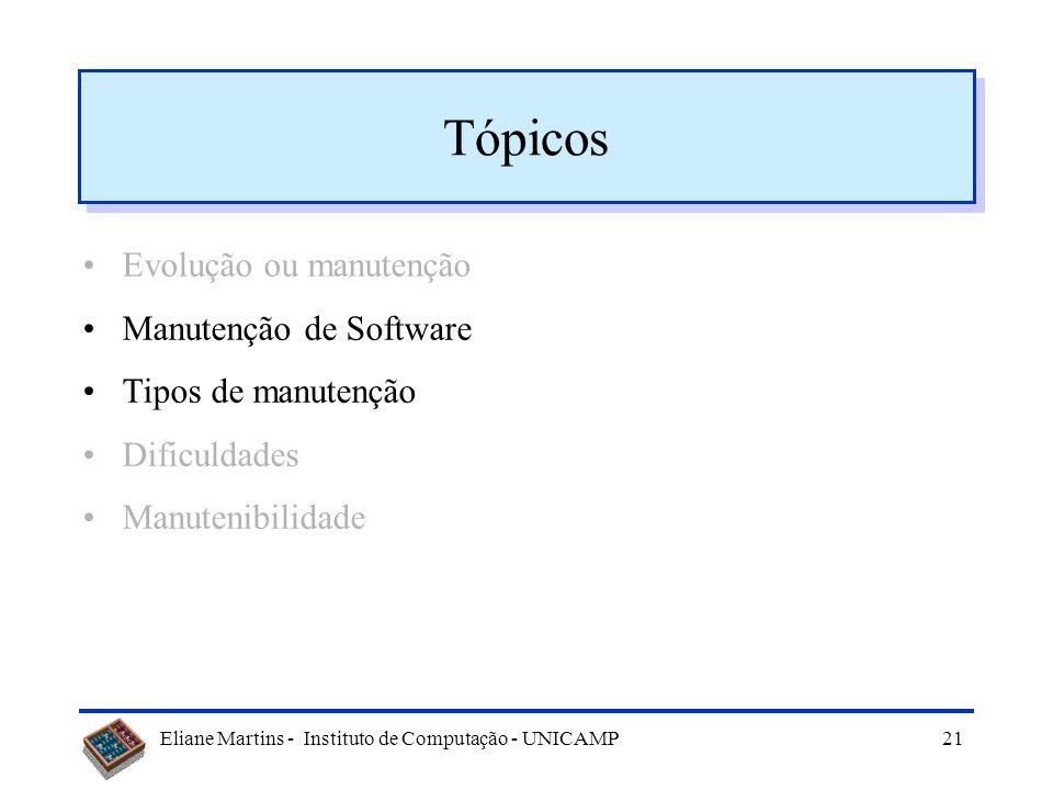 Eliane Martins - Instituto de Computação - UNICAMP20 Dinâmica da evolução do sw (Leis de Lehman) Modificações contínuas Complexidade crescente Evoluçã