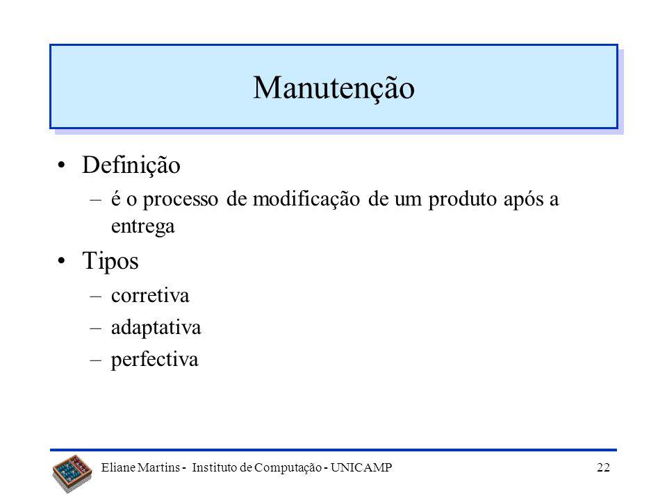 Eliane Martins - Instituto de Computação - UNICAMP21 Tópicos Evolução ou manutenção Manutenção de Software Tipos de manutenção Dificuldades Manutenibi
