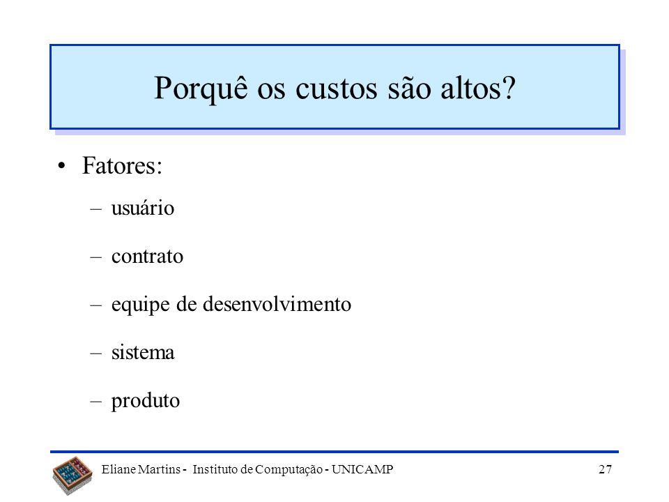 Eliane Martins - Instituto de Computação - UNICAMP26 Tópicos Evolução ou manutenção Manutenção de Software Tipos de manutenção Dificuldades Manutenibi