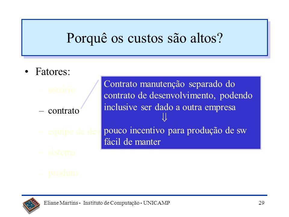 Eliane Martins - Instituto de Computação - UNICAMP28 Porquê os custos são altos? Fatores: –usuário –contrato –equipe de desenvolvimento –sistema –prod