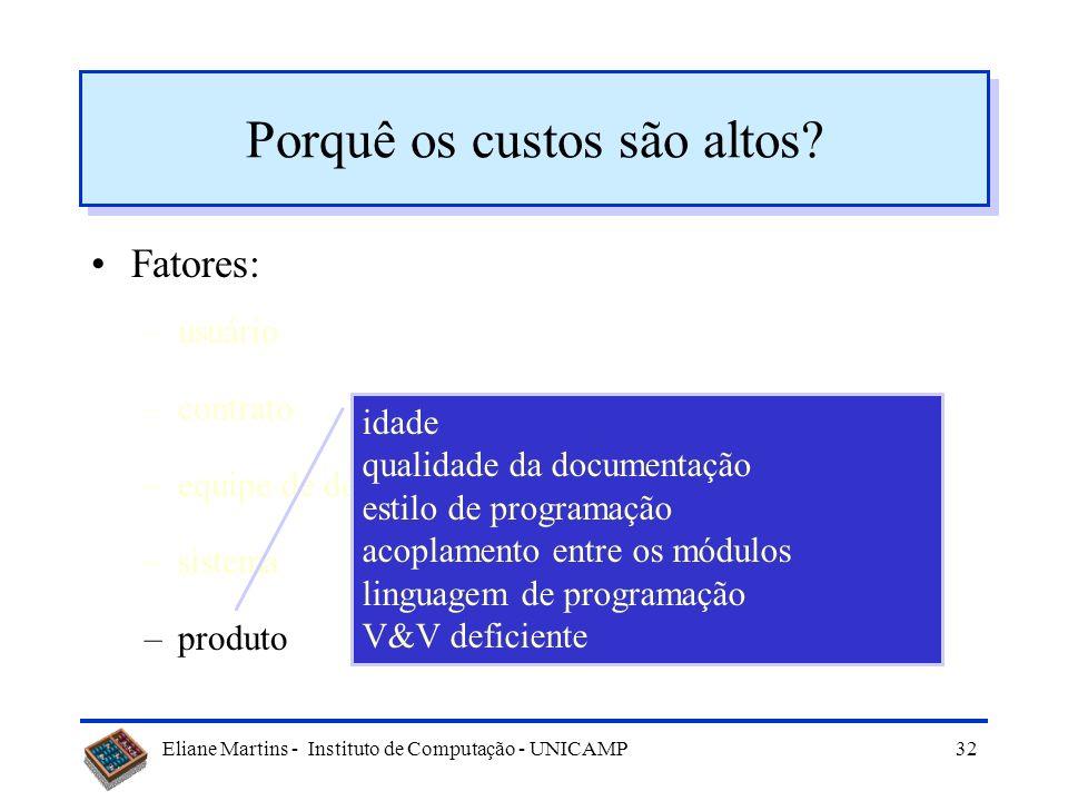 Eliane Martins - Instituto de Computação - UNICAMP31 Porquê os custos são altos? Fatores: –usuário –contrato –equipe de desenvolvimento –sistema –prod