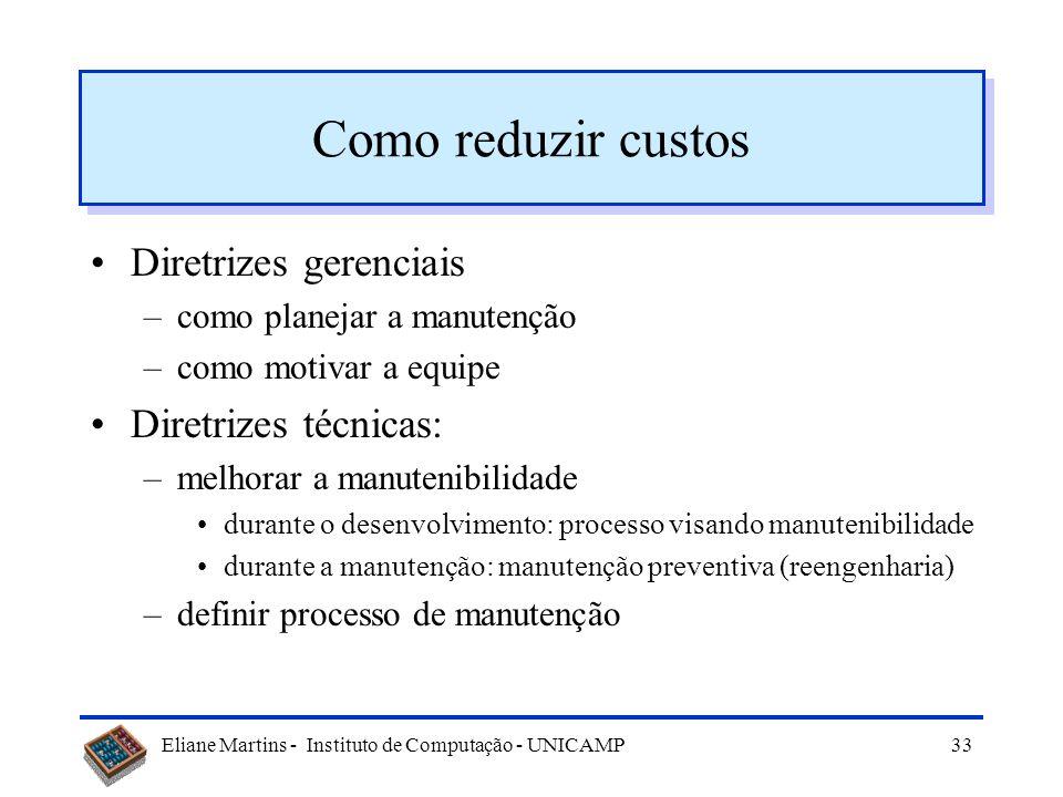 Eliane Martins - Instituto de Computação - UNICAMP32 Porquê os custos são altos? Fatores: –usuário –contrato –equipe de desenvolvimento –sistema –prod