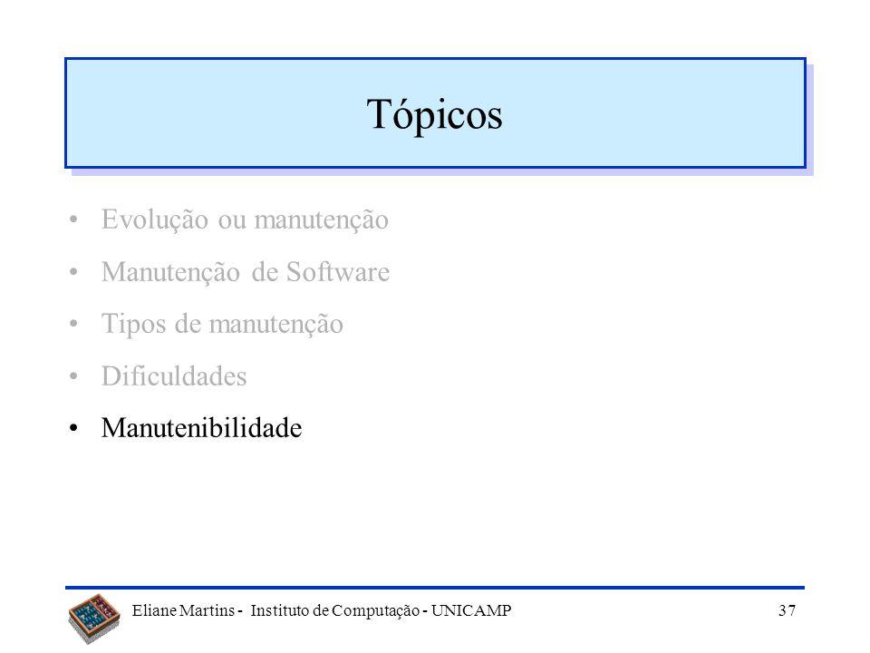 Eliane Martins - Instituto de Computação - UNICAMP36 Diretrizes gerenciais (3) Escolher equipe qualificada Garantir boa qualidade do sistema: –bem est