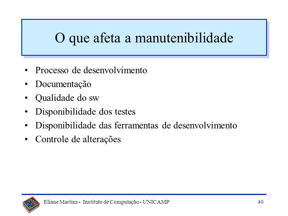 Eliane Martins - Instituto de Computação - UNICAMP39 Considerações Todos os sistemas são igualmente fáceis de manter ? Porque não ? –Sistemas não são