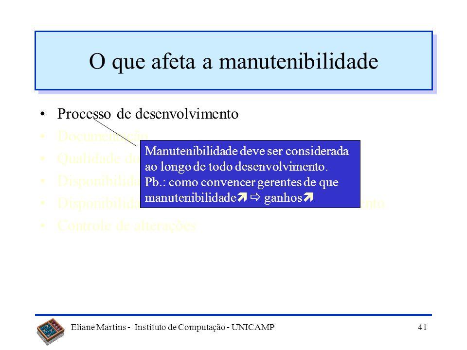 Eliane Martins - Instituto de Computação - UNICAMP40 O que afeta a manutenibilidade Processo de desenvolvimento Documentação Qualidade do sw Disponibi