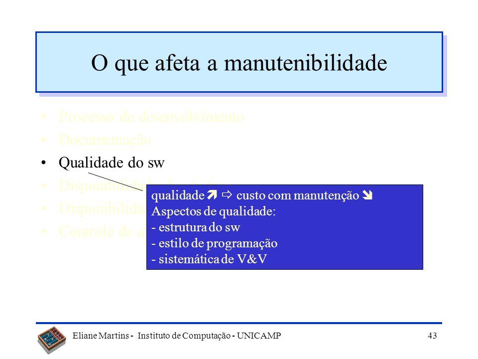 Eliane Martins - Instituto de Computação - UNICAMP42 O que afeta a manutenibilidade Processo de desenvolvimento Documentação Qualidade do sw Disponibi