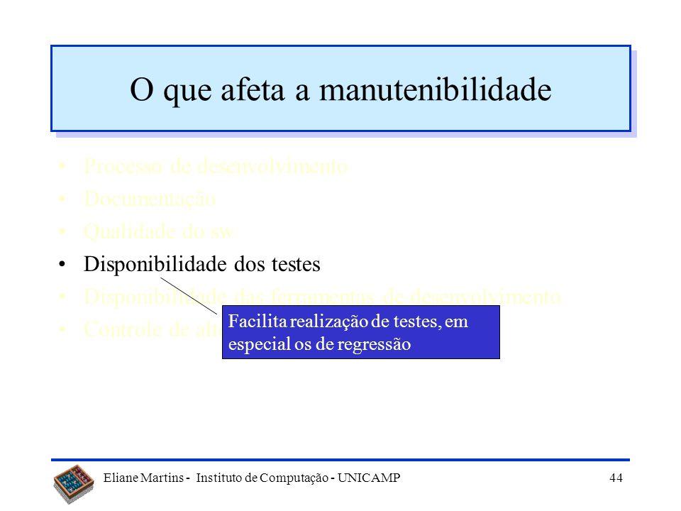 Eliane Martins - Instituto de Computação - UNICAMP43 O que afeta a manutenibilidade Processo de desenvolvimento Documentação Qualidade do sw Disponibi