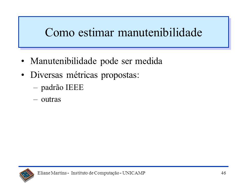 Eliane Martins - Instituto de Computação - UNICAMP45 O que afeta a manutenibilidade Processo de desenvolvimento Documentação Qualidade do sw Disponibi