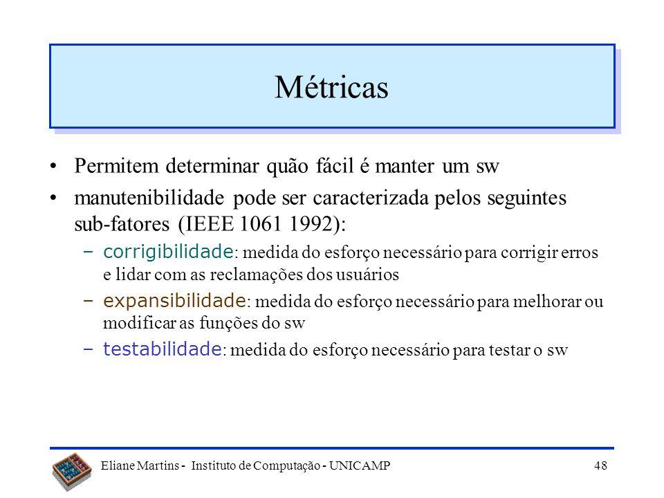 Eliane Martins - Instituto de Computação - UNICAMP47 Padrão IEEE 1061/1992 Ajuda a estabelecer metodologia para obtenção de métricas de qualidade de s