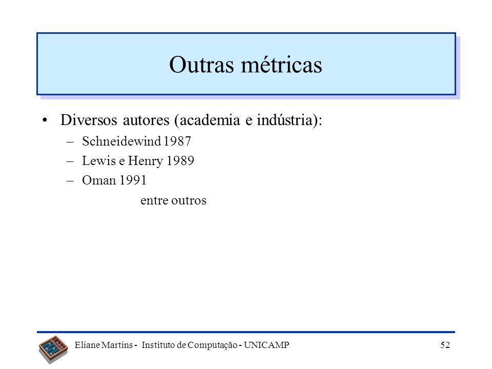 Eliane Martins - Instituto de Computação - UNICAMP51 Métricas expansibilidade esforço para modificação tamanho da modificação taxa de modificação cont
