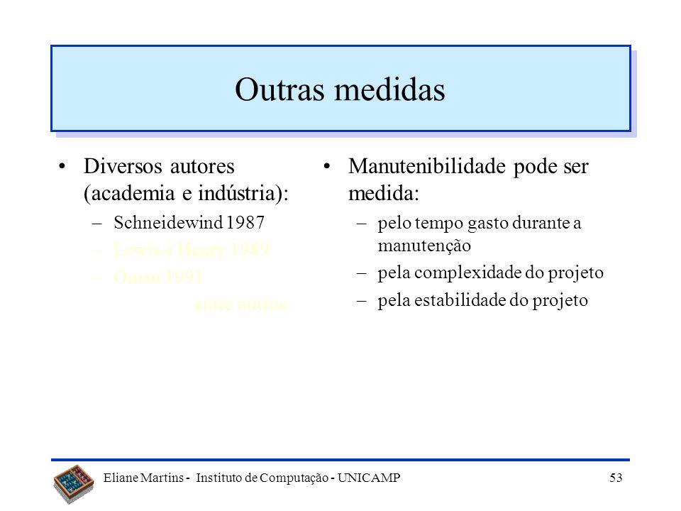 Eliane Martins - Instituto de Computação - UNICAMP52 Outras métricas Diversos autores (academia e indústria): –Schneidewind 1987 –Lewis e Henry 1989 –
