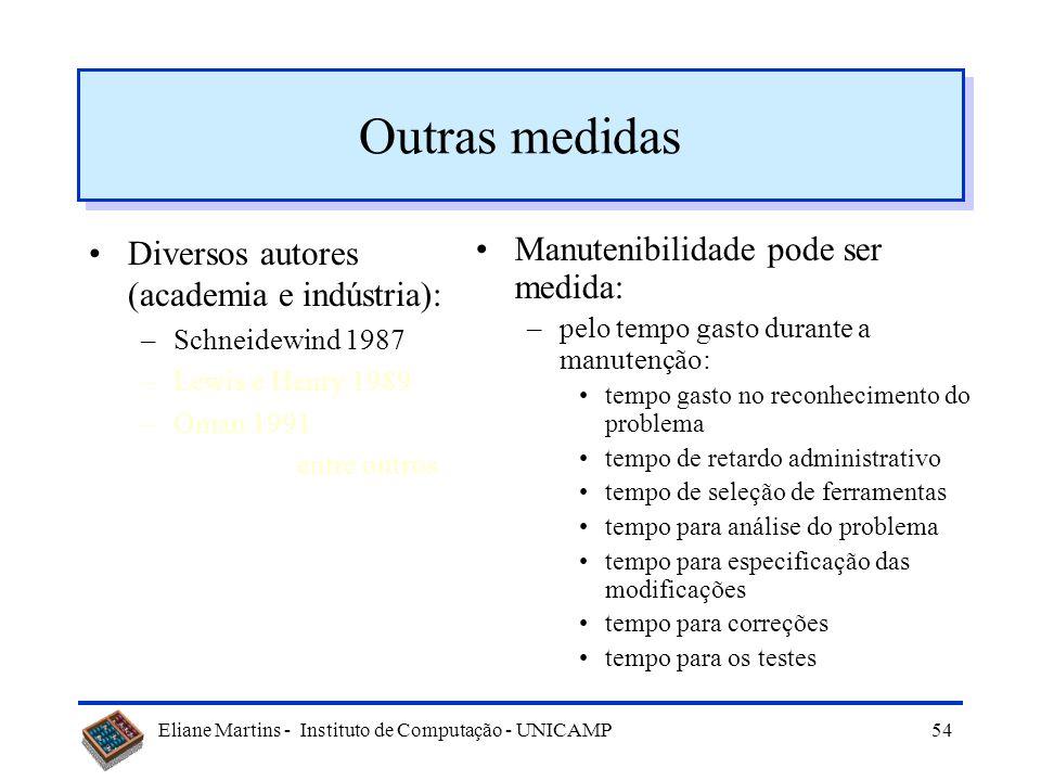 Eliane Martins - Instituto de Computação - UNICAMP53 Outras medidas Diversos autores (academia e indústria): –Schneidewind 1987 –Lewis e Henry 1989 –O