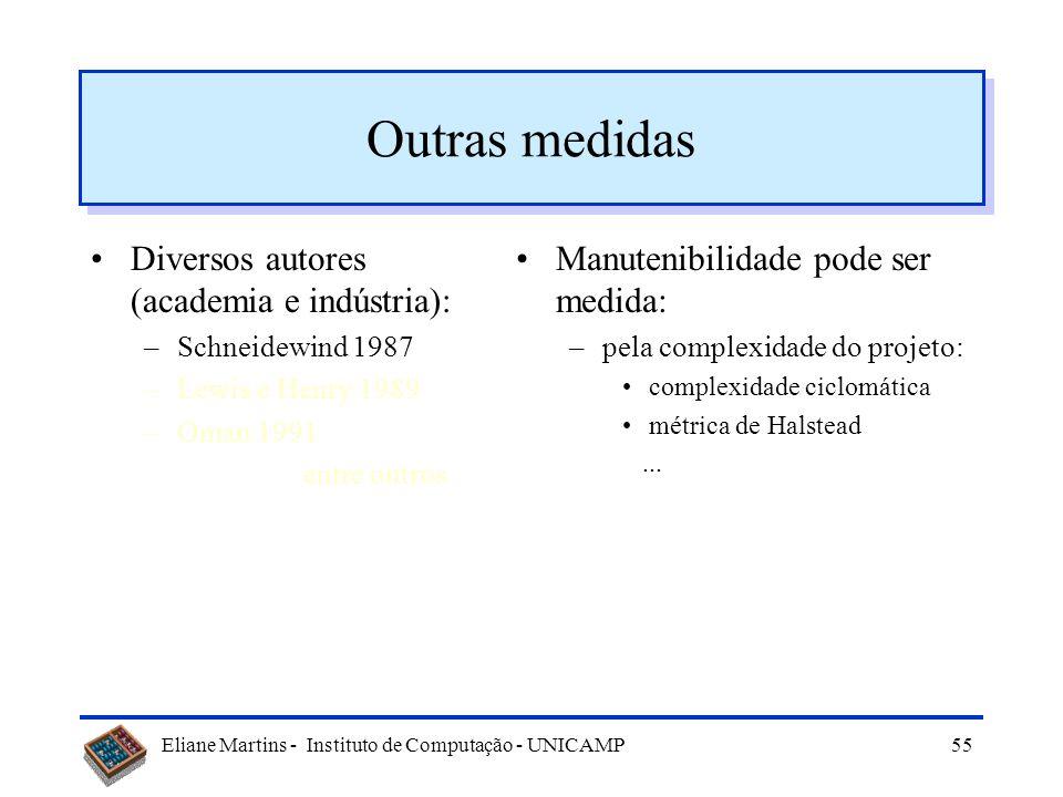 Eliane Martins - Instituto de Computação - UNICAMP54 Outras medidas Diversos autores (academia e indústria): –Schneidewind 1987 –Lewis e Henry 1989 –O