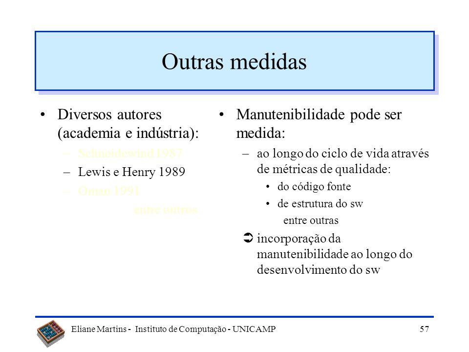 Eliane Martins - Instituto de Computação - UNICAMP56 Outras medidas Diversos autores (academia e indústria): –Schneidewind 1987 –Lewis e Henry 1989 –O
