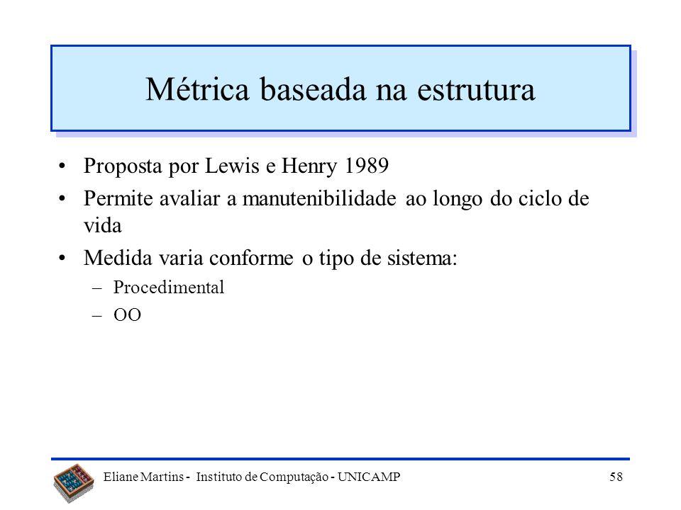 Eliane Martins - Instituto de Computação - UNICAMP57 Outras medidas Diversos autores (academia e indústria): –Schneidewind 1987 –Lewis e Henry 1989 –O