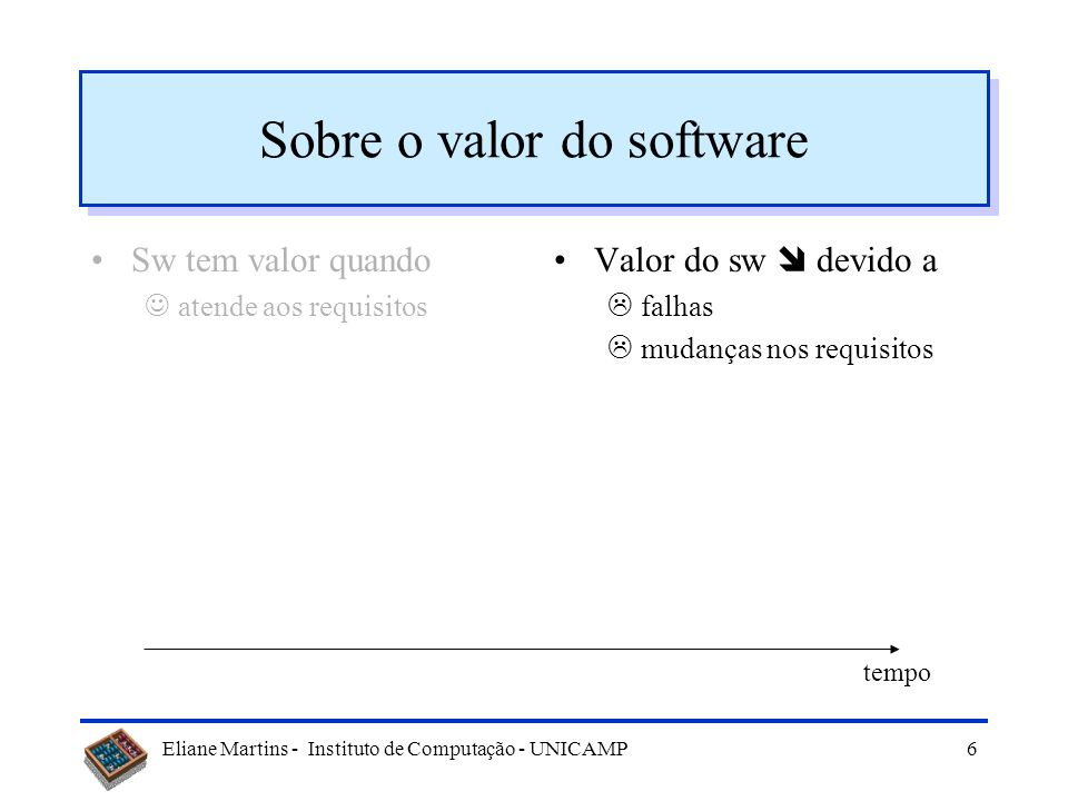 Eliane Martins - Instituto de Computação - UNICAMP5 Sobre o valor do software Sw tem valor quando atende aos requisitos