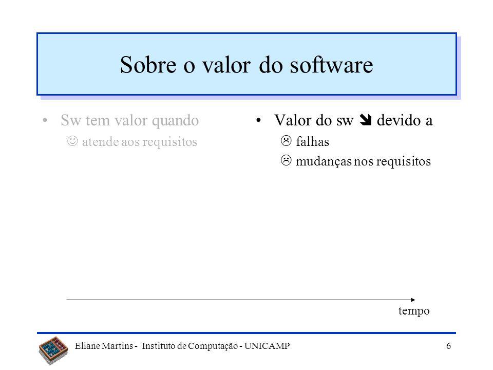 Eliane Martins - Instituto de Computação - UNICAMP6 Sobre o valor do software Sw tem valor quando atende aos requisitos Valor do sw devido a falhas mudanças nos requisitos tempo