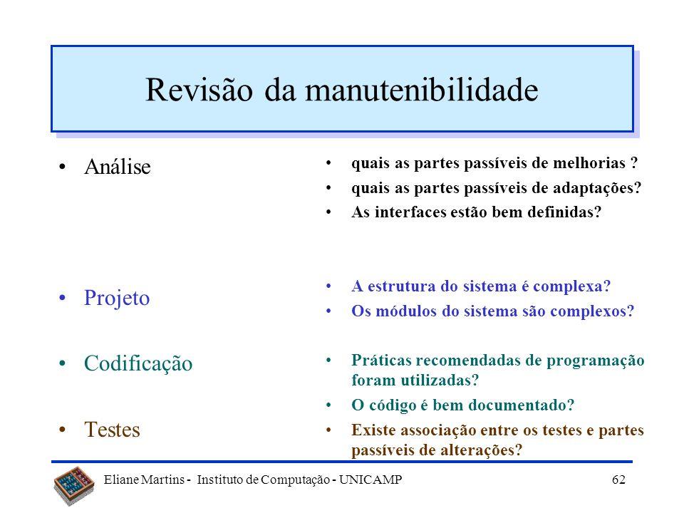 Eliane Martins - Instituto de Computação - UNICAMP61 Legibilidade Legibilidade: –de documentos: –de código: L =   0,295 id - 0,499 LOC + 0,13 c nº de