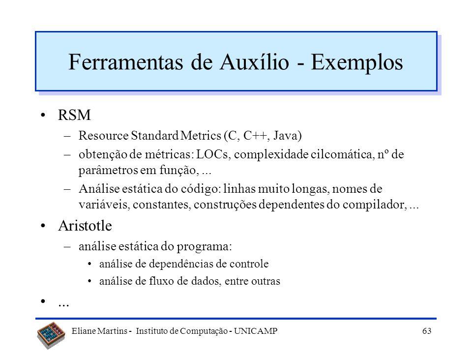 Eliane Martins - Instituto de Computação - UNICAMP62 Revisão da manutenibilidade Análise Projeto Codificação Testes quais as partes passíveis de melho
