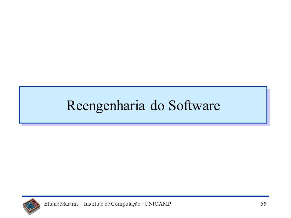 Eliane Martins - Instituto de Computação - UNICAMP64 Recomendações finais Quais as recomendações para se obter uma boa manutenibilidade? –Revisões –Us
