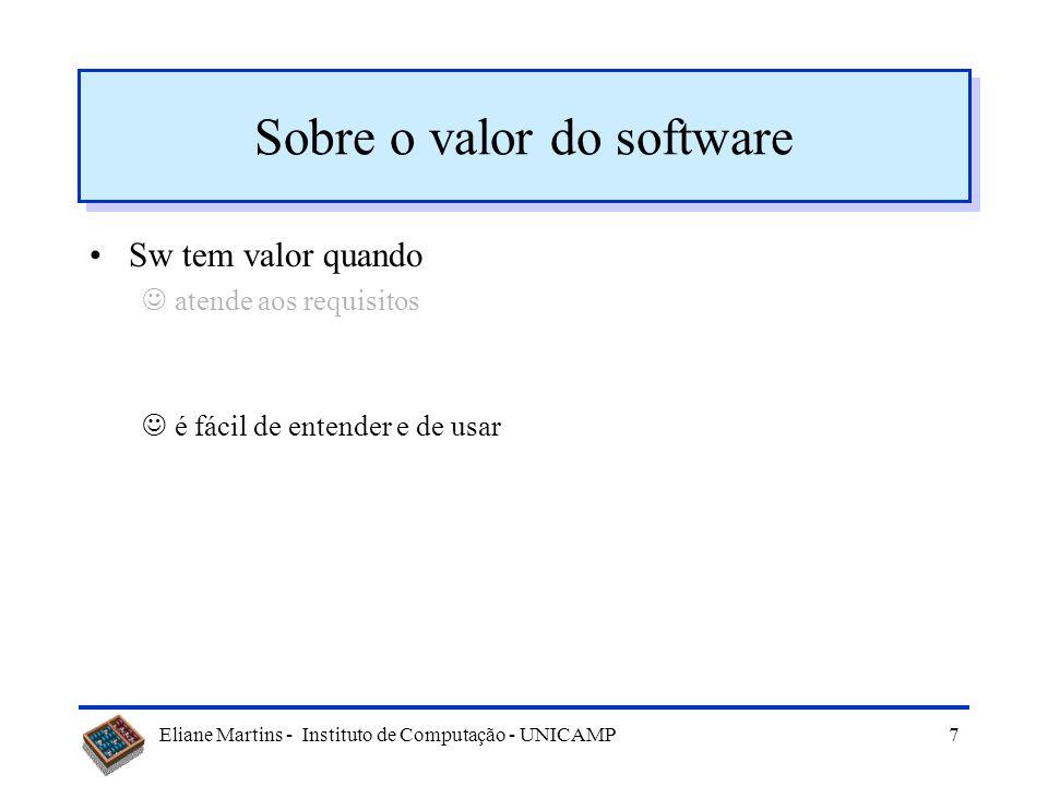 Eliane Martins - Instituto de Computação - UNICAMP6 Sobre o valor do software Sw tem valor quando atende aos requisitos Valor do sw devido a falhas mu