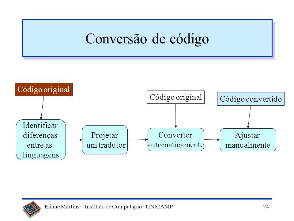 Eliane Martins - Instituto de Computação - UNICAMP73 Procedimento (exemplo) Código fonte original Transformação Código XML Biblioteca de dados XML Tra