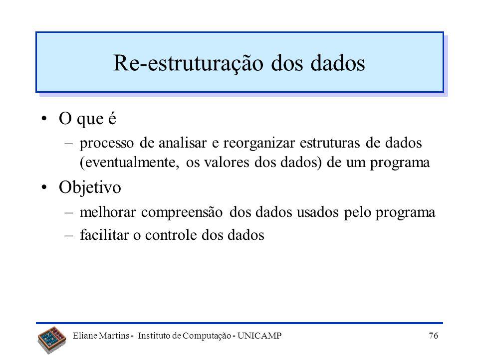 Eliane Martins - Instituto de Computação - UNICAMP75 Exemplo Processo de conversão com XML Código fonte original Transformação Código XML Biblioteca d