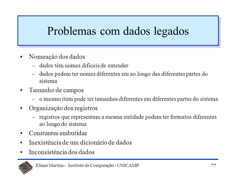 Eliane Martins - Instituto de Computação - UNICAMP76 Re-estruturação dos dados O que é –processo de analisar e reorganizar estruturas de dados (eventu