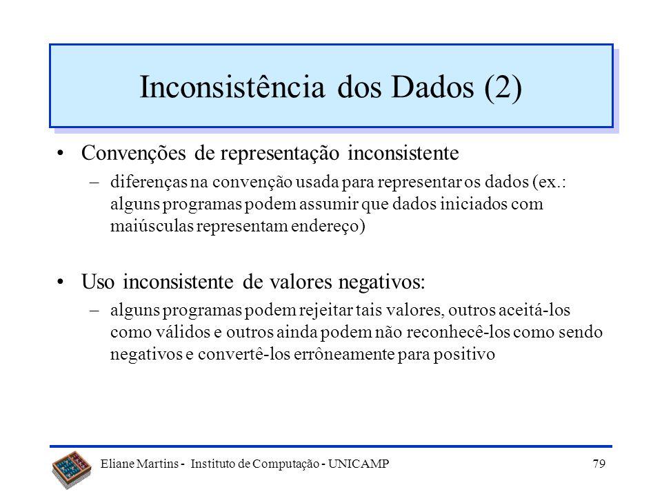 Eliane Martins - Instituto de Computação - UNICAMP78 Inconsistência dos Dados (1) Valores default inconsistentes –programas diferentes atribuem valore