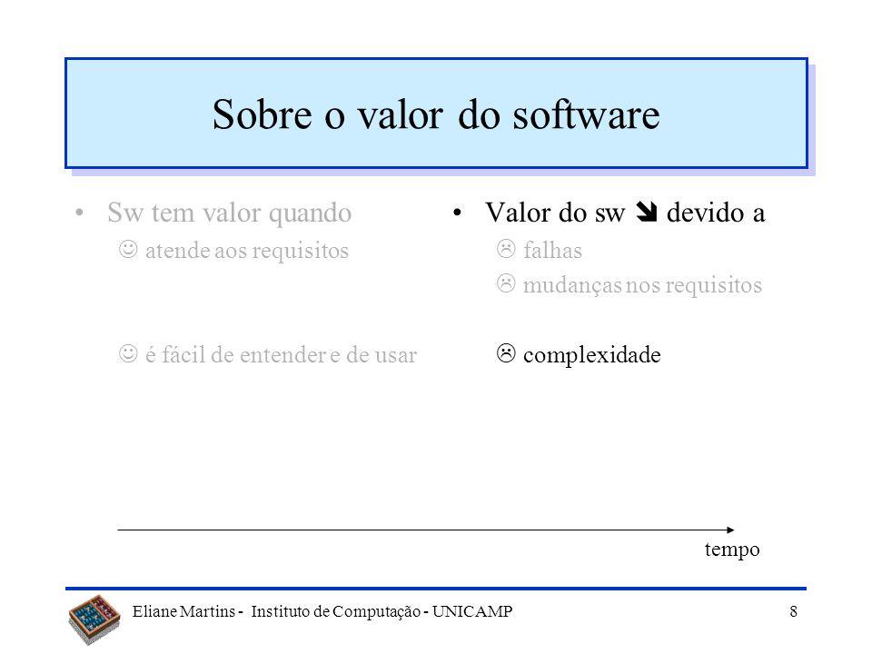 Eliane Martins - Instituto de Computação - UNICAMP8 Sobre o valor do software Sw tem valor quando atende aos requisitos é fácil de entender e de usar Valor do sw devido a falhas mudanças nos requisitos complexidade tempo