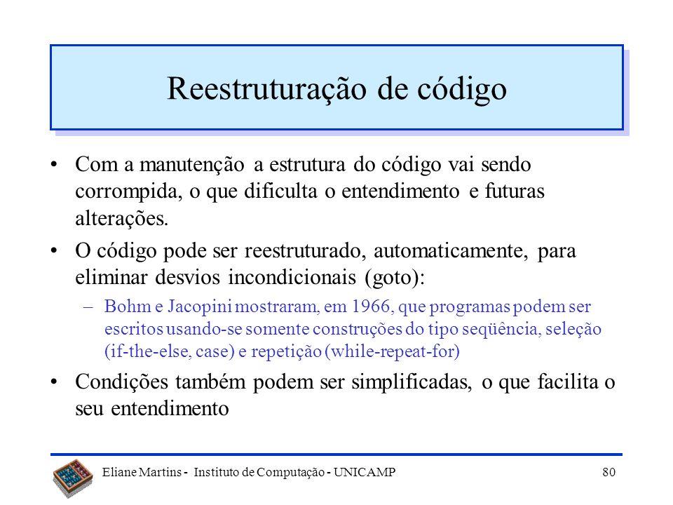 Eliane Martins - Instituto de Computação - UNICAMP79 Inconsistência dos Dados (2) Convenções de representação inconsistente –diferenças na convenção u