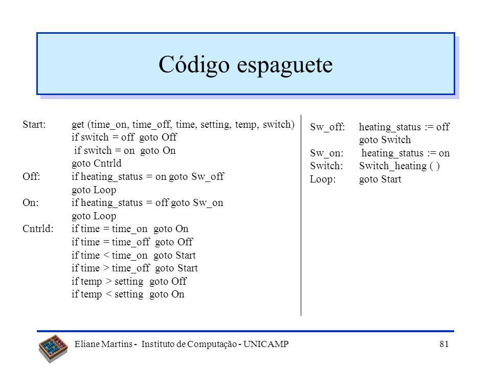 Eliane Martins - Instituto de Computação - UNICAMP80 Reestruturação de código Com a manutenção a estrutura do código vai sendo corrompida, o que dific