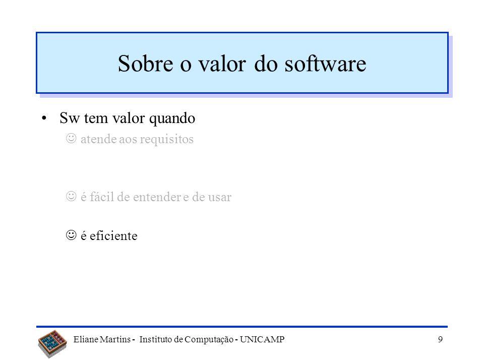 Eliane Martins - Instituto de Computação - UNICAMP59 Modularidade para sistemas procedimentais nº de procedimentos M proc = KLOCS [Peters e Pedrycz 2001] Programa LOC nº funções M ProgA 1000 2 0,002 ProgB 1000 12 0,012 Exemplo: