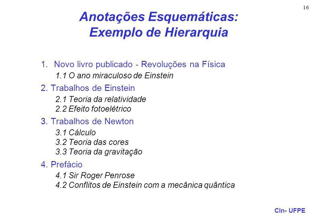CIn- UFPE 16 Anotações Esquemáticas: Exemplo de Hierarquia 1.Novo livro publicado - Revoluções na Física 1.1 O ano miraculoso de Einstein 2.