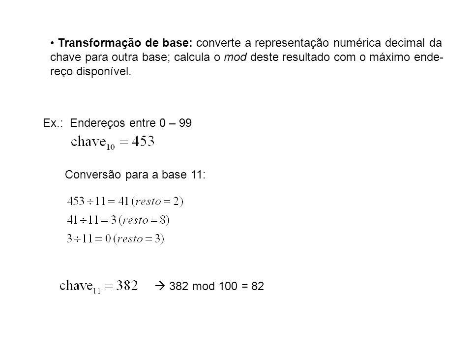 Transformação de base: converte a representação numérica decimal da chave para outra base; calcula o mod deste resultado com o máximo ende- reço dispo