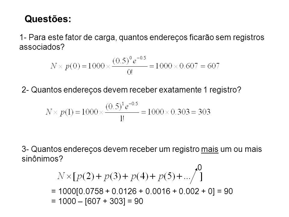 Questões: 1- Para este fator de carga, quantos endereços ficarão sem registros associados? 2- Quantos endereços devem receber exatamente 1 registro? 3