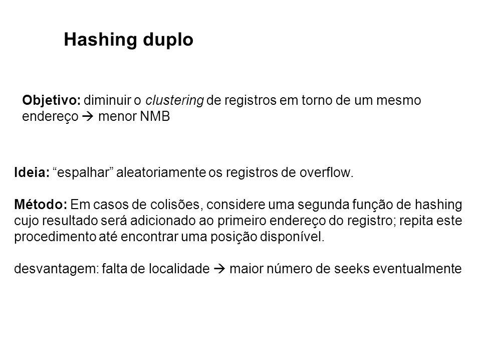 Hashing duplo Objetivo: diminuir o clustering de registros em torno de um mesmo endereço menor NMB Ideia: espalhar aleatoriamente os registros de over